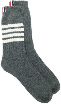 Thom Browne 4-Bar Stripe Chunky Rib Socks
