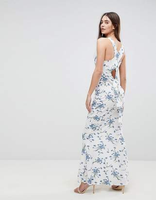 AX Paris Maxi Dress With Tie Back In Floral