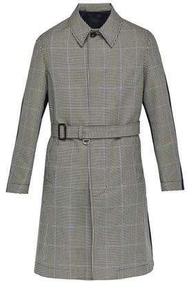 Alexander McQueen Contrast Back Houndstooth Twill Overcoat - Mens - Navy Multi
