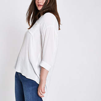 River Island Plus white button back shirt
