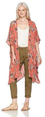 Angie Women's Printed Floral Duster Kimono
