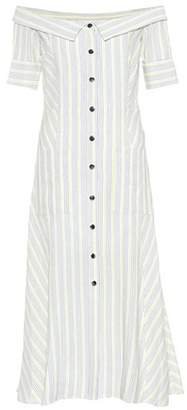 Veronica Beard Striped off-the-shoulder dress