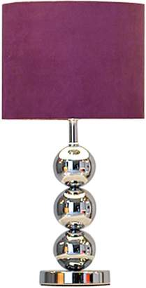 Very Ingrid Faux Suede 3-Ball Table Lamp - Plum
