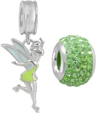 Disney Crystal Sterling Silver Tinkerbell Charm & Bead Set