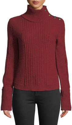 Veronica Beard Lucille Ribbed Wool Button-Shoulder Turtleneck Sweater