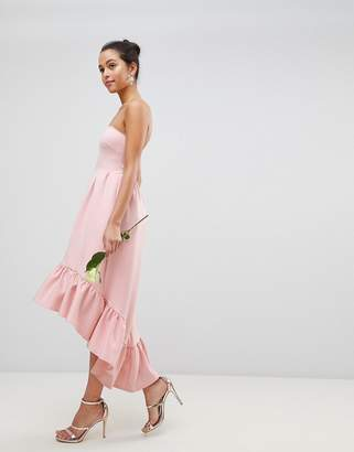 Club L Bandeau Drop Hem Frill Maxi Dress