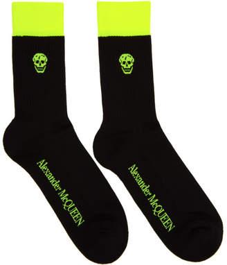 Alexander McQueen Black and Yellow Stripe Skull Socks