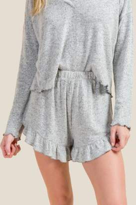 francesca's Janelle Ruffle Hem PJ Short - Heather Gray