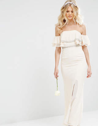 TFNC Petite WEDDING Off Shoulder Maxi Dress With Embellishment