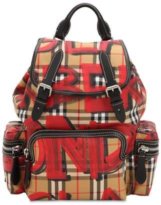 Burberry Medium Rucksack Graffiti Canvas Backpack