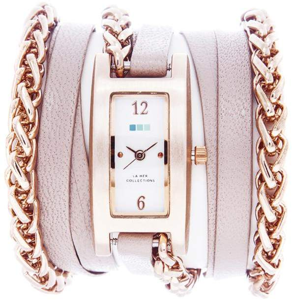 La Mer Palermo Rosetone Wheat Chain Nude-Color Leather Wrap-Design Watch