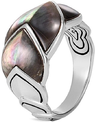 John Hardy 'Legends Naga' mother of pearl silver medium ring