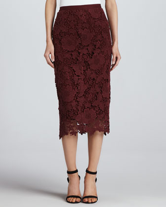 Elizabeth and James Garrett Fitted Lace Pencil Skirt
