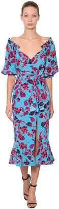 Saloni Olivia Floral Printed Silk Crepe Dress