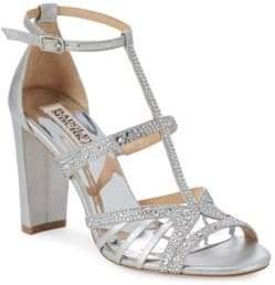 Badgley Mischka Hewitt Embellished Leather T-Strap Sandals