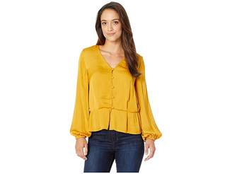 Vince Camuto Specialty Size Petite Long Sleeve Peplum Hem Button Down Blouse