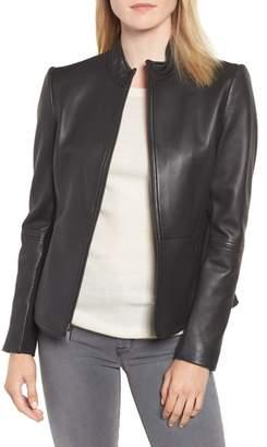 Via Spiga Stand Collar Leather Jacket