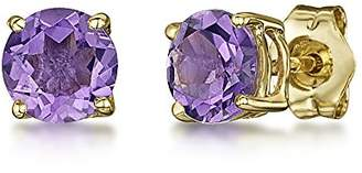 Theia 9ct Yellow Gold Amethyst Claw Set Stud Earrings