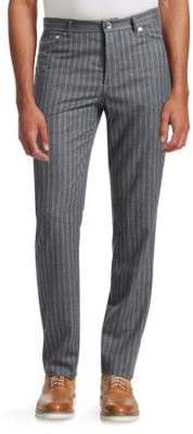 Double Pinstriped Wool Pants