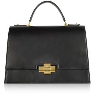 N°21 Black Leather Alice Top Handle Satchel Bag