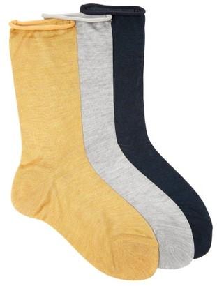 Raey - Set Of Three Roll Top Silk Socks - Womens - Yellow Multi