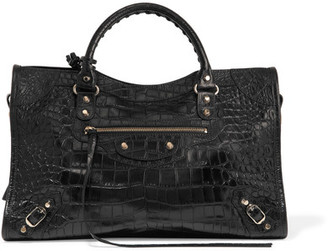 Balenciaga - Classic City Croc-effect Leather Tote - Black $2,150 thestylecure.com