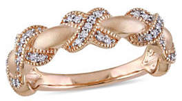 HBC CONCERTO 14K Rose Gold and 0.20TCW Diamond X Ring