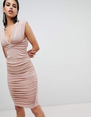 Asos DESIGN slinky super ruched low back midi dress