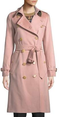 Burberry Kensington Belted Cashmere Long Trench Coat