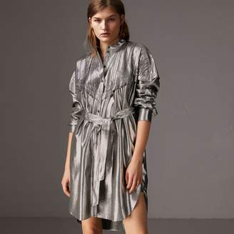 Burberry Pintuck Detail Silk Lamé Shirt Dress