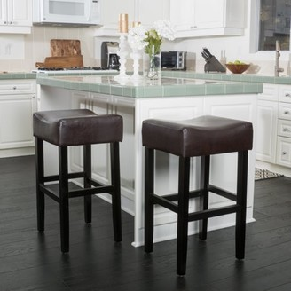 Noble House Patricia Brown Bonded Leather Backless Bar Stool (Set of 2)