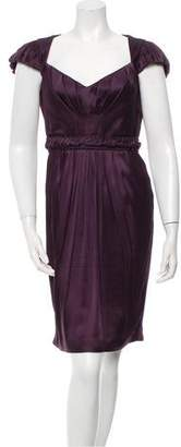 Andrew Gn Satin Pleat-Accented Dress
