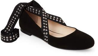 Anna Baiguera Studded Ankle-Wrap Ballet Flats