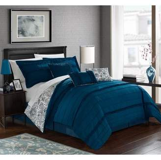 Maeve Chic Home 11-Piece Pleated and Ruffled REVERSIBLE Paisley Floral Print King Bed In a Bag Comforter Set Navy With sheet set