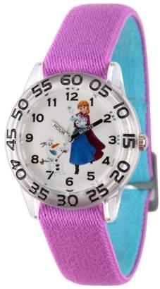 Disney Frozen Elsa and Anna Girls' Clear Plastic Time Teacher Watch, Reversible Purple and Blue Nylon Strap