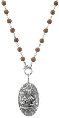 Sheryl Lowe Long Wood & Diamond Buddha Pendant Necklace
