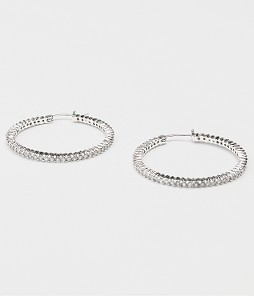 Large Cubic Zirconia Silver Hoop Earrings