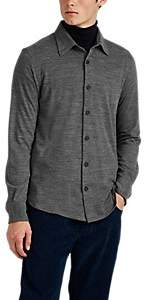 Brioni Men's Wool-Cashmere Piqué Long-Sleeve Polo Shirt - Gray