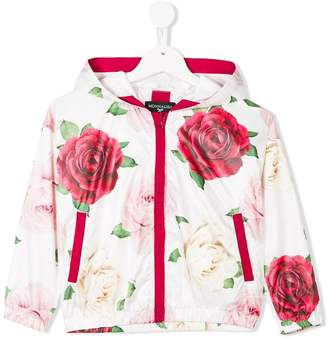 MonnaLisa rose-print hooded zip-up jacket