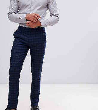 Farah Smart Hurstleigh skinny fit check suit pants in navy