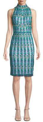 Tadashi Shoji Embroidered Floral Lace Mock-Neck Dress