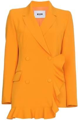 MSGM Orange Double Breasted Ruffle Blazer