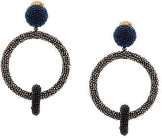 Oscar de la Renta beaded double-hoop earrings
