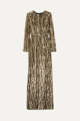 Rasario Sequined Tulle Gown - Gold