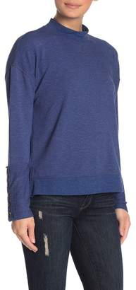 Cable & Gauge CG Mock Neck Button Cuff Sweater