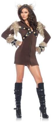 Leg Avenue Women's Cozy Viking fleece dress w/faux fur and horn hood