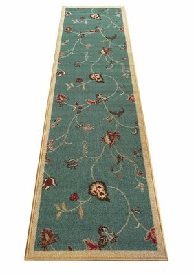 Charlton Home Escondido Flowers Scroll Floral Teal/Beige Area Rug Charlton Home