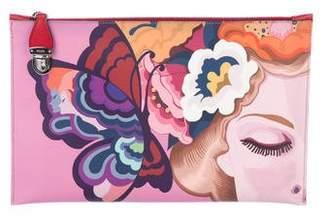 Prada Saffiano Rosso dis Butterfly Clutch