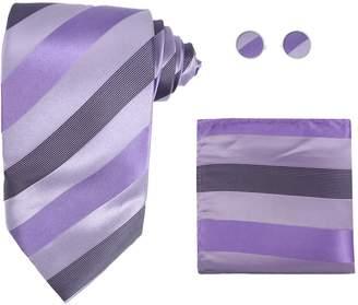 IDEA H5185 Pink Stripes Discount Gift Silk Tie Hanky Cufflinks Best Gift Set 3PT By Y&G