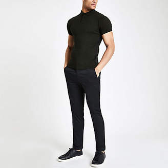 River Island Mens Dark Green cable muscle fit polo shirt